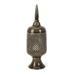 Transitional Large Cutwork Canister with Lid - *The Polard large cutwork canister is handcrafted which ensures uniqueness of each piece of ceramic art.