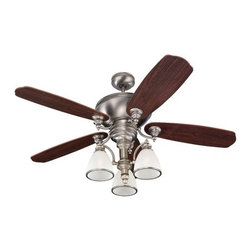 Ceiling Fan with Light in Antique Brushed Nickel Finish -