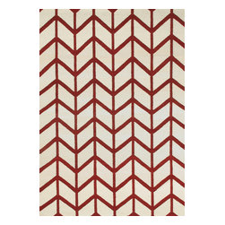 Rugsville - Rugsville  Chevron Ivory Burgundy Wool 13694-58 Rug - Rugsville Chevron stripes are everywhere we look, from the runway to the showroom. Hand Woven in a soft wool weave of durable, non-fading, washable 100%. To clean, just wash with mild soap or rinse with a hose. Use of a Rug Pad, is recommended.