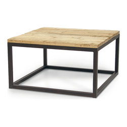 Kathy Kuo Home - Soma Industrial Loft Reclaimed Wood and Iron Coffee Table - Repurposed wood from old boats, crates or houses finds new life as a gorgeous oak finished table, resting atop a stainless steel frame. Each piece is a one-of-a-kind creation, guaranteed to bring a smile along with high style to your home.