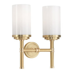Robert Abbey - Robert Abbey Halo Brushed Brass Double Sconce 1325 - Brushed Brass Finish with Polished Brass Accents