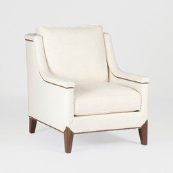 Liam Chair by Gabby - Casual elegance comes home in this comfy favorite. Nailheads in tight pattern along the bottom of the capped arm and bottom of this occasional chair add the perfect finishing touch. Available in wide array of colors and fabrics.
