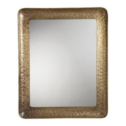 Arteriors - Delaney Mirror, Large - Modern styling meets Old World craftsmanship in this impressive mirror. The frame is made of rugged hammered iron, which has been treated with an antique brass finish for a subtle sheen that doesn't overwhelm its surroundings. Keyhole mounts on the back accommodate both vertical and horizontal display.