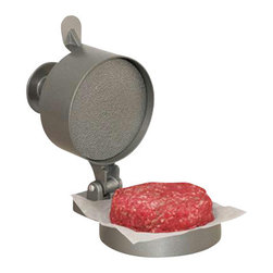 "Weston - Burger Express Patty Press - Weston 07-0310-W Burger Express with Patty Ejector - Make perfect patties every time! Simply place any ground meat on the patty forming tray. close the lid and press the patty presser button down to compact the meat into perfect patties of any thickness up to 1.5"". Features: Spring plunger button compacts the patty then pops back for quick patty removal. Non-stick coating. Constructed of heavy-duty aluminum. Adjustable patty thickness from .25"" to 1.5"" with a 4.5"" diameter. Helps ensure that patties will not fall apart on the grill!"