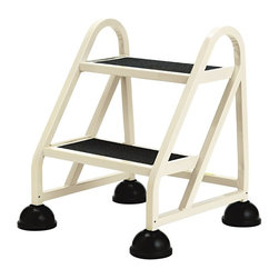 Cramer - Cramer Stop-Step Aluminum Step Stool Multicolor - CRA102019 - Shop for Ladders from Hayneedle.com! Whether at home or the office the Cramer Stop-Step Aluminum Step Stool provides a safe way to get what you are reaching for. This stool is available in 2 or 3-step options and is made of welded high-tensile aluminum. It features a powder coat finish no-skid vinyl treads and non-slip bell foot retractable casters. About CramerCramer has sitting around since the 1930s and that's not a bad thing. Since making their first chairs for Hallmark artists after the Great Depression the company has been dedicated to creating seats and stools for people in every profession. They make the world's best desk chair sure but they also make the step stools for the library and seats for nurses scientists workers and more. If you give a sit about where you work trust in Cramer.