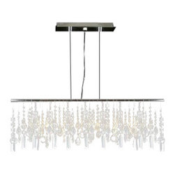 """The Gallery - Modern Contemporary Linear Chandelier Lighting Lamp W/ Crystal H58"""" X W38"""" - 5 LIGHT CRYSTAL LIGHTING PENDANT Chrome finish. Clear crystal. 5 LIGHTS Width 38"""" Adjustable Height from 12"""" to 58"""" Light bulbs not included**Assembly Required**"""