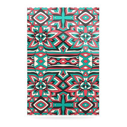 "Kess InHouse - Pom Graphic Design ""Ethnic Floral Mosaic"" Teal Red Metal Luxe Panel (24"" x 36"") - Our luxe KESS InHouse art panels are the perfect addition to your super fab living room, dining room, bedroom or bathroom. Heck, we have customers that have them in their sunrooms. These items are the art equivalent to flat screens. They offer a bright splash of color in a sleek and elegant way. They are available in square and rectangle sizes. Comes with a shadow mount for an even sleeker finish. By infusing the dyes of the artwork directly onto specially coated metal panels, the artwork is extremely durable and will showcase the exceptional detail. Use them together to make large art installations or showcase them individually. Our KESS InHouse Art Panels will jump off your walls. We can't wait to see what our interior design savvy clients will come up with next."