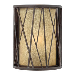 Hinkley Lighting - Hinkley Lighting HK-1150-RB Elm Transitional Outdoor Wall Sconce - Elm's nature-inspired design offers an organic feel with hand-made sculptural detailing set against a backdrop of elegant distressed amber etched glass.