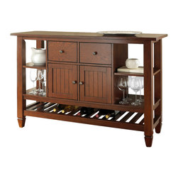 Steve Silver Furniture - Steve Silver Bolton Server in Medium Oak - Server in Medium Oak belongs to Bolton Collection by Steve Silver The Bolton Dining Collection offers a fresh contemporary look while providing maximum storage options. The Bolton Server features a bottom shelf wine rack with side shelves for display.  The two drawers and cabinets offer multiple storage options.    Server(1)