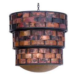 Stone County Ironworks - Rushton Copper Strip Chandelier (Natural Black) - Finish: Natural Black. Hand fired copper strips woven. Made from iron. Weight: 36 lbs.