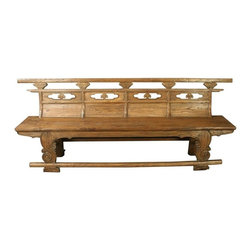 EuroLux Home - Long Consigned Antique Chinese Opera Bench Seating - Product Details