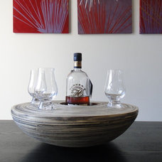Contemporary Decorative Bowls Modern handcrafted wood bowl tray - decorative tray, drinks serving tray