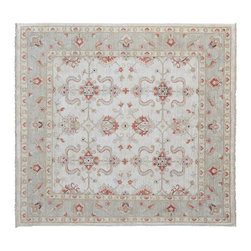 Oriental Rug, 6'X6' Square 100% Wool Stone Wash Peshawar Hand Knotted Rug SH9150 - Hand Knotted Oushak & Peshawar Rugs are highly demanded by interior designers.  They are known for their soft & subtle appearance.  They are composed of 100% hand spun wool as well as natural & vegetable dyes. The whole color concept of these rugs is earth tones.