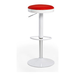 Inmod - Lollipop Stool (Set of 2), Red - Here's the cool stool to call on wherever you want counter seating. A comfortable, colorful seat upholstered in breathable nylon mesh rests on a sturdy steel base. A flick of the foot lets you get the height just right.