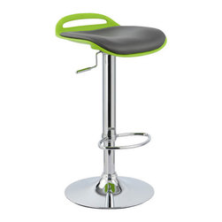 "Vandue - Beckham Contemporary Adjustable Barstool, Lime Green - Beckham is one of our newest designs constructed in flexible molded PP polymer with a faux leather padded seat top. This magnificent design is accented by a chrome trim. It is a definitive center of attention in any room. The Beckham is a contemporary design with a retro flair making it suitable for the bar area, kitchen, breakfast nook, gaming area or any other atmosphere. The Beckham also includes a footrest crafted from chrome plated tubular steel and a sturdy base with rubber protection for your floor. Each barstool can swivel 360 degrees and comes complete with an adjustable gas lift tested to operate at least 100,000 times! Measures 17"" wide by 15.5"" deep. The seat height adjusts from table to counter/bar height (21"" to 31""). The overall height of the chair adjusts from 24"" to 34"". The base diameter is 15"" and the footrest diameter is 14""We have the best quality barstools of this type. Don't settle for a cheap imitation made of inferior materials. We are so confident in the durability of our product that we offer a 5 year warranty on the strut performance on all our barstools that we sell."