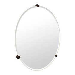 Classic Oval Vanity Mirror - This vanity mirror is mounted to your wall with ball tipped mounting brackets in your choice of finish.  The clean look of this beveled vanity mirror will complement both modern and traditional decors.  Also matches the Oldenburg Collection.