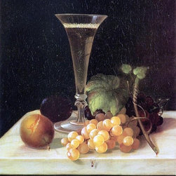 """Morston Ream Still Life Wine Glass and Fruit - 16"""" x 20"""" Premium Archival Print - 16"""" x 20"""" Morston Ream Still Life Wine Glass and Fruit premium archival print reproduced to meet museum quality standards. Our museum quality archival prints are produced using high-precision print technology for a more accurate reproduction printed on high quality, heavyweight matte presentation paper with fade-resistant, archival inks. Our progressive business model allows us to offer works of art to you at the best wholesale pricing, significantly less than art gallery prices, affordable to all. This line of artwork is produced with extra white border space (if you choose to have it framed, for your framer to work with to frame properly or utilize a larger mat and/or frame).  We present a comprehensive collection of exceptional art reproductions byMorston Ream."""