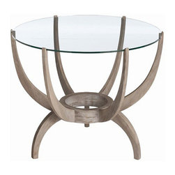 Arteriors Home - Arteriors Home Oswald Acacia Solids/Glass End Table - Arteriors Home 5348 - Arteriors Home 5348 - Modern round side table of acacia wood in weathered oak finish features 6 wood prongs that support clear glass top. Table prongs connect at bottom for 3-footed wooden base.