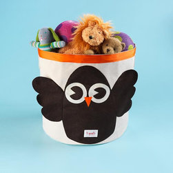 Children's Owl Collapsable Storage Bin - Why use boring square storage bins in your kids' rooms when you can use these cute round animal bins? Available in the owl and monkey design, I think these bins would brighten any room. They're constructed with 100-percent organic canvas and 100-percent eco-spun felt made from recycled water bottles.