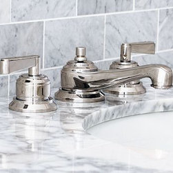 "Covington Faucet, Polished Nickel finish - Built of cast brass for superior strength, our low-flow Covington Faucet exemplifies durable, clean design. With stepped bases and geometric lines, it displays a slender profile. Constructed of cast brass. Fits sink openings with an 8"" widespread. A pre-installed aerator restricts water flow to 2.2 gallons per minute. Professional installation required. Made in the USA. View our {{link path='pages/popups/fb-bath.html' class='popup' width='480' height='300'}}Furniture Brochure{{/link}}."
