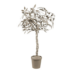 "Stray Dog Designs - Stray Dog Designs Ficus Tree Kingsport Gray - The gray Stray Dog Designs Ficus tree grows with spirited style. Rising from a round planter, its whimsical papier mache tree blooms into a whimsical accent. 30"" Dia x 60""H; Handcrafted with low VOC paint"