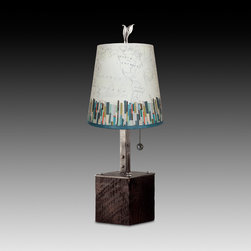 Papers Edge Small Table Lamp with Drum Shade - Accent drum shaded table lamp. Hand forged, welded steel & reclaimed wood base. Steel oxide pewter finial and pull charm. Shades: archival giclees, hand made, signed, dated and hallmarked. Max Watt: 60. Accommodates incandescent, CFL and LED bulbs.