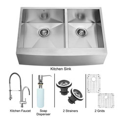 Vigo Industries - 36 in. Double Bowl Sink and Faucet Set - Includes apron front sink, faucet, soap dispenser, two matching bottom grids, two strainers, all mounting hardware and hot-cold waterlines.