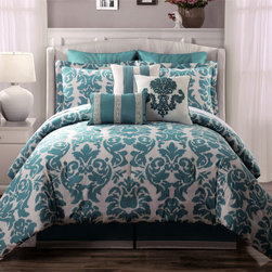 None - Chateau 9-piece Comforter Set - The Chateau Comforter Set is constructed from soft 100-percent cotton in a distressed damask medallion print in soft shades of aqua and oatmeal. A bedskirt,shams,Euro shams and three decorative pillows are included.