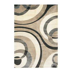 Abacasa - Cicero Area Rug (127.2 in. L x 94.8 in. W (36 lbs.)) - Choose Size: 127.2 in. L x 94.8 in. W (36 lbs.). Ivory and charcoal circles against a soft beige background. Contemporary style. Rectangular shape. Non slip jute and poly propylene backing. Flat pile. Machine-woven. Made from viscose. Made in Belgium. Pile height: 0.25 in.. Care InstructionsThe Sonoma collection combines a rich color pallete to create a sophisticated group of designs. Creates a natural source of sound absorption and pulls the overall look of the room together.