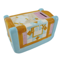 Ceramic Pastel Baby Crib Coin Bank - This adorable baby crib coin bank makes a wonderful shower gift, or is a wonderful accent to Baby`s nursery. Made of ceramic and hand painted, it measures 5 1/2 inches long, 3 1/2 inches tall, 3 1/2 inches wide and empties via a plastic plug on the bottom. The details of this piece are precious, from the striped onesie and pacifier to the quilt draped over the side of the crib.