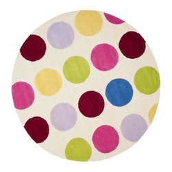 Safavieh - Kids Novelty Multicolor Round Rug (6 ft.) - Choose Size: 6 ft. High-quality . Hand tufted. Made from premium wool. Made in India. Pile height: 0. 63 in. This is made with premium New Zealand wool lending a lush and warm feel that will go great in any Childs play area or bedroom. Luxuriously soft, Safavieh Kids hooked rugs of pure cotton make an all-natural statement for kids with a flair for fashion. Only cotton could achieve the bright colors required of these impactful designs, which were created for kids, but work equally well as accent rugs in other areas of the home. Every pattern in this collection is designed to become the artful focal point of a truly special room. Care Instructions: Vacuum regularly. Brushless attachment is recommended. Avoid direct and continuous exposure to sunlight. Do not pull loose ends clip them with scissors to remove. Remove spills immediately; blot with clean cloth by pressing firmly around the spill to absorb as much as possible. For hard-to-remove stains professional rug cleaning is recommended.