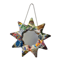 """Mirrors Decorated - """"Sun"""" Mirror Ornament with a World View - American made with a World View. Handcrafted papier-mâché, mirrored ornaments creatively collaged with An attractive, multicolored """"International Map,"""" World Stamps"""" from a bonanza of topical and pictorial stamps, """"Patchwork"""" a vibrant display of hues of plain and patterned colored paper. Ball chain to hang. Makes perfect accents. Mix and match collect all designs and styles. Available as a 3 piece set. Papier-mâché is made from discarded newspaper. An artist signature label is adhered to the back of each. Glass mirrors."""