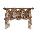 RLF Home - Stella Victory Swag, Beige, 8 Scoop - The Stella Victory Swag is embraced by a beautifully embroidered floral and vine motif on faux-silk. Finished with lavish tassel-ball trim and chair-tie accents as shown, this style is fashioned with front-tabs for elegantly displaying from a decorative pole. This valance is 100% Polyester, unlined, and available in colors Beige, Black, Gold, and Ivory.