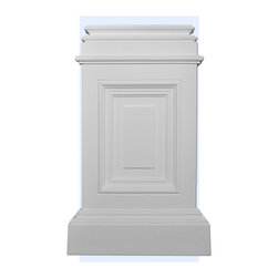 "Inviting Home - Concord Plinth - plinth 10-7/8""W x 17-3/4""H x 2-1/2""D top is 8-1/2""W x 1""D This outstanding quality plinth made from high density polyurethane factory primed. This plinth is lightweight durable and easy to install using common woodworking tools. Plinth for pilasters can be finished with any quality paints."