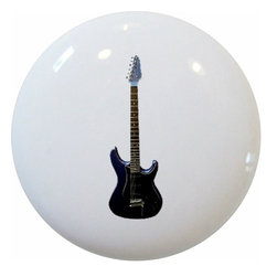 Carolina Hardware and Decor, LLC - Black Guitar Ceramic Knob - New 1 1/2 inch ceramic cabinet, drawer, or furniture knob with mounting hardware included. Also works great in a bathroom or on bi-fold closet doors (may require longer screws).  Item can be wiped clean with a soft damp cloth.  Great addition and nice finishing touch to any room.