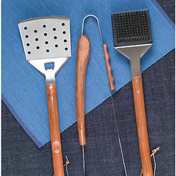 None - Vineyard Rosewood 3-piece Barbeque Tool Set - Make cooking at the grill easier with this barbeque tool set Generously-sized stainless steel tools have a contemporary look and feel Vineyard Rosewood BBQ accessories have contoured rosewood handles