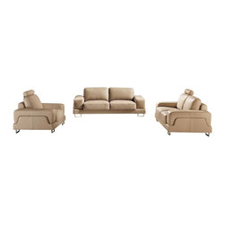 ESF - ESF 8265 Beige Top Grain Italian Leather 3 Piece Sofa Set - The ESF 8265 sofa set is a great addition for any living room that needs a touch of modern design. This sofa set comes upholstered in a beautiful beige top grain Italian leather. High density foam is placed within the cushions for added comfort. The armrests feature a stylish two piece design that adds to the overall look. Only solid wood products were used when crafting the frame making the sofa a very durable piece.