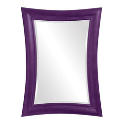 Howard Elliott - Fairmont  Mirror - This Contemporary rectangular mirror features a resin frame that is denoted by its slight curve on each side giving the piece a graceful bowed effect. The frame is then painted in our custom glossy royal purple.