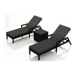 Forever Patio - Urbana 3 Piece Wicker Chaise Lounge Set, Canvas Charcoal Cushions - The Harmonia Living Urbana 3 Piece Rattan Patio Chaise Lounge Set with Gray Sunbrella cushions (SKU HL-URBN-CB-3RCLS-CC) brings comfort and style to your outdoor space. Each chaise is constructed with durable, thick-gauged aluminum frames which are protected by a powder coating for superior corrosion resistance. The wicker is made of High-Density Polyethylene (HDPE) with its coffee bean color and UV resistance infused into the strands themselves. This creates a rich wicker color that holds up incredibly well with age.Thick, comfy cushions are covered in Canvas Charcoal fabric by Sunbrella, the industry leader in mildew- and fade-resistant outdoor fabric. This chaise adheres to the highest quality standards for modern patio furniture in the market today, meaning it will last for years to come.