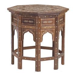 Moroccan Drum Table - As a kid, I would have loved the intricate details on this fantastic Moroccan side table with bone inlay. It's perfect for a little board game fun with the smallest family members.