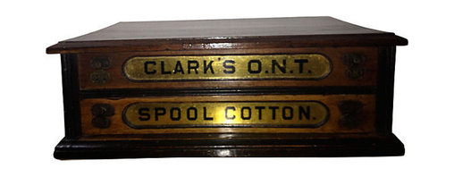 Consigned Antique Spool Box - Antique Oak Spool Box. Clark's O.N.T./Spool Cotton. Originally used to store cotton thread. Oak box with two drawers and brass pulls.