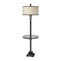Uttermost - Uttermost 28571-1  Revolution End Table Floor Lamp - Rustic black finish with coffee bronze metal accents and a tempered glass tray. the round drum shade is an off-white linen fabric with rustic black metal trim.