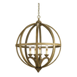 Currey and Company - Currey and Company 9015 Axel Orb Traditional Chandelier - Large - This large-scale piece owes its commanding presence to its size and strong form. A steel frame construction provides a framework for curved wooden slats. The rustic sophistication of this chandelier is enhanced with a Chestnut stain on the wood that is then slightly washed, giving it an aged, used appearance.