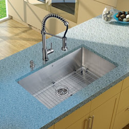 Vigo Industries - Platinum Undermount Kitchen Sink with Grids - Includes stainless steel kitchen sink, stainless steel kitchen faucet, matching grid, strainer and stainless steel soap dispenser and all mounting hardware