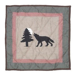Patch Magic - Wolf Trail Wolf Toss Pillow - 16 in. W x 16 in. L. 100% Cotton. Machine washable.. Line or flat dry onlyDecorative applique Quilted Pillow.