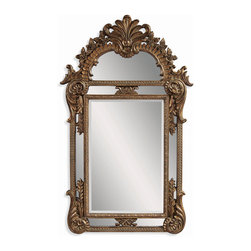 Bassett Mirror - European Vertical Wall Mirror - Burnished Bronze Gold Finish - Shaped. Measures: 41 in. W x 67 in. H.
