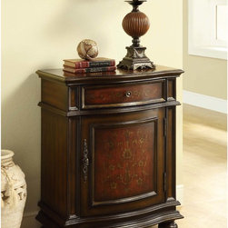 Monarch - Bombay Cherry/ Red Traditional 1-drawer Cabinet - Update your home decor with this cherry wood cabinet. Its traditional style and warmth will instantly enhance any home. This cabinet features one drawer for storage. The antique silver hardware and detailed trim complements this piece.