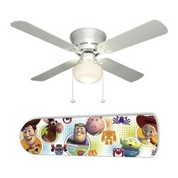 """Toy Story Characters 42"""" Ceiling Fan and Lamp - 42-inch 4-blade ceiling fan with a dome lamp kit that comes with custom blades. It has a white flushmount fan base. It has an energy efficient 3-speed reversible airflow motor for year long comfort. It comes with complete installation/assembly instructions. The blades can be cleaned with a damp cloth. It is made with eco-friendly/non-toxic products. This is brand new and shipped in the original box. This is not a licensed product, but is made with fully licensed products. Note: Fan comes with custom blades only."""