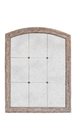Kathy Kuo Home - Avignon French Country Arched Top Rosettes Antique Mirror - The rustic silhouette of this arched top mirror creates a simple weathered frame for the glamorous mirror held inside, and will add a subtle shine to any French country style room. Nine distressed mirrored panels are held together with small rosettes, which add another vintage design element. Try hanging this Avignon mirror above a vintage porcelain sink to add old world style to your washroom.