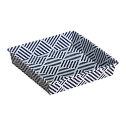 Decker Trinket Tray, Navy - This tray would punch up any boring old table. The pattern and color are both so transitional, they'd work well in a modern or more traditional space.